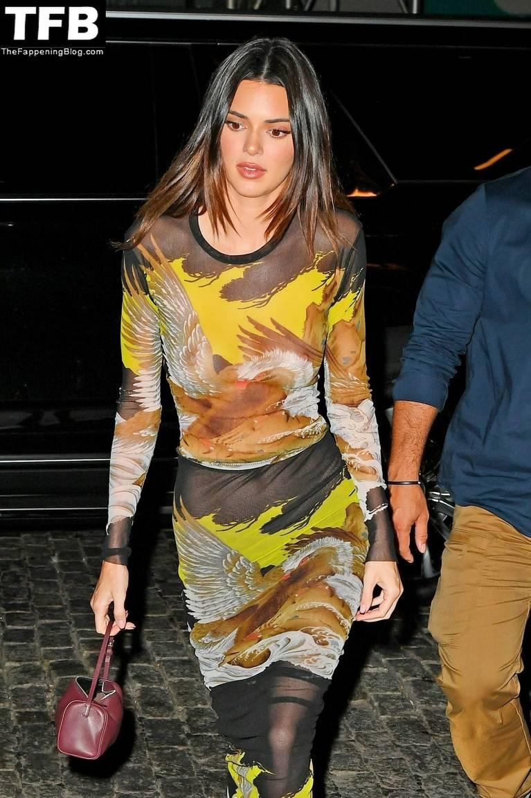 Kendall Jenner Through Braless Dress 1