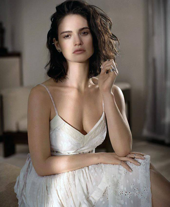 Lily James shows off her amazing figure for glamorous